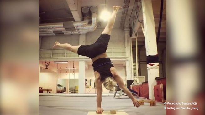 Handstand auf Slackline: Student ist Extremsportler