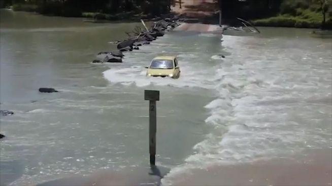 Ungleiches Duell: Kleinwagen trifft auf Krokodil